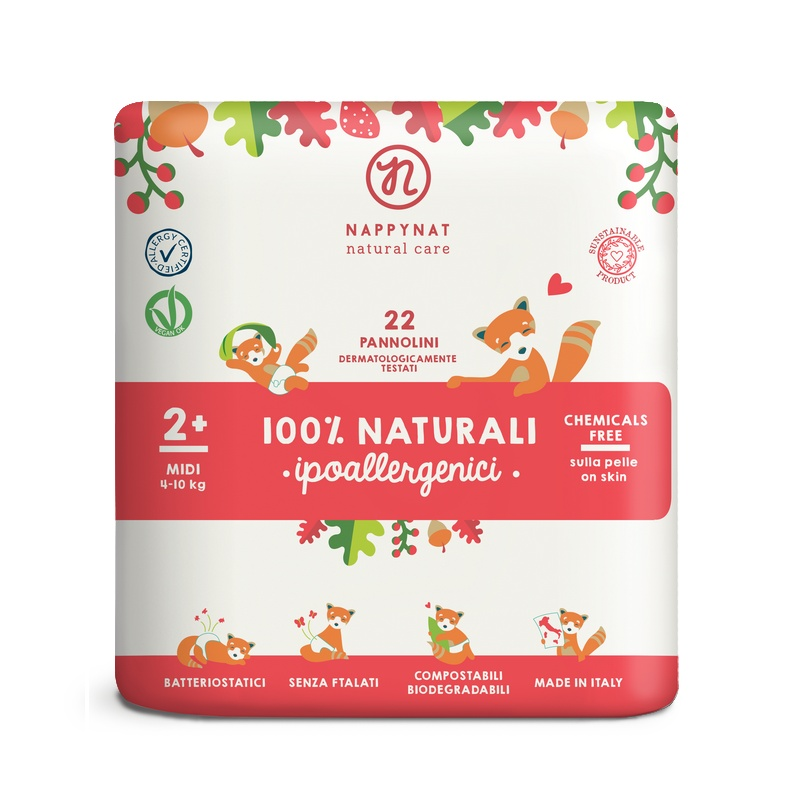Plenky Nappynat natural care Midi 4 - 10 kg (22 ks)